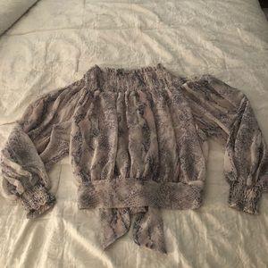 NWOT Vici Snake Print Off the Shoulder Blouse Sz L